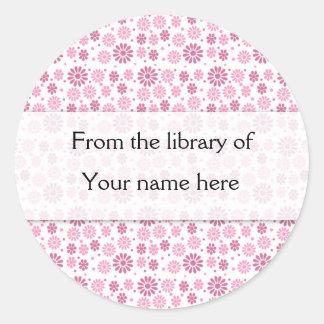 Pink Flowers Personalized Bookplates Round Sticker