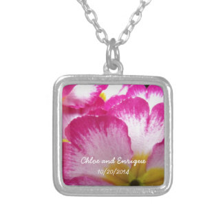 Pink Flowers Personalized Wedding Silver Plated Necklace