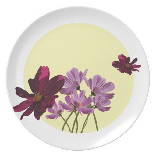 Pink flowers party plate