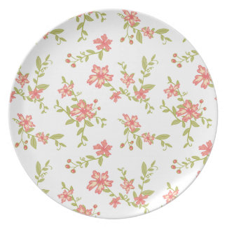 Pink Flowers Plates