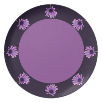 Pink flowers plate