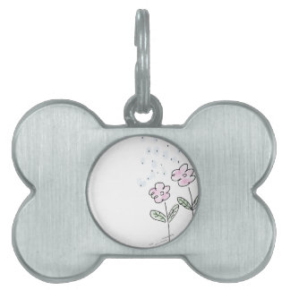 Pink Flowers Rain Showers  - Hand Drawn Sketch Pet ID Tags