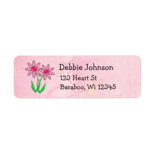 Pink Flowers Return Address Sticker