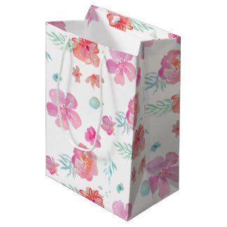 Pink Flowers Romantic Floral Watercolor Gift Bag