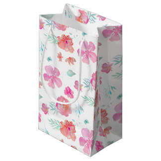 Pink Flowers Romantic Floral Watercolor Small Gift Bag