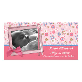 Pink Flowers Scrap Style Custom Photo Card