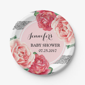 Pink Flowers Silver Stripes Baby Shower Plate