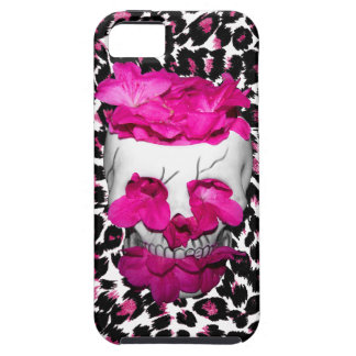 Pink Flowers Skull on Pink Leopard Spots Tough iPhone 5 Case