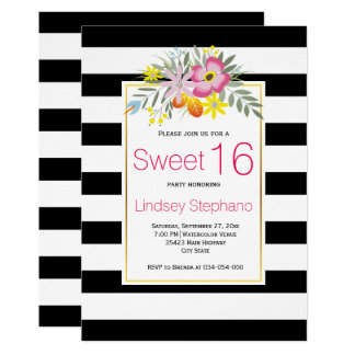Pink flowers, stripes sweet sixteen birthday card