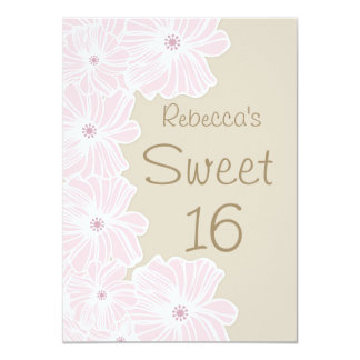 Pink flowers Sweet 16 Party Card