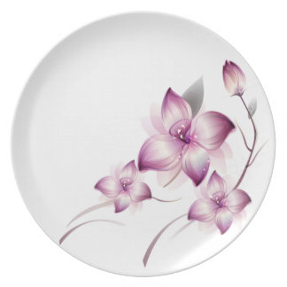pink flowers swirl art dinner plates
