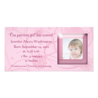 Pink Flowers Swirls Birth Announcement Photocard Customized Photo Card