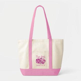 Pink Flowers Team Bride Wedding Tote Bag