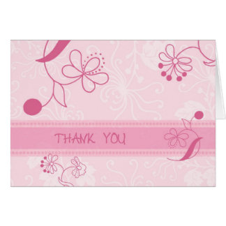 Pink Flowers Thank You Flower Girl Card