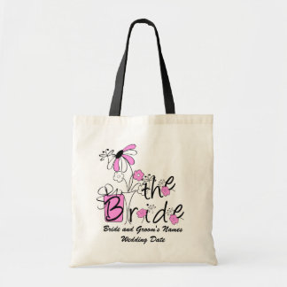 Pink Flowers The Bride Custom Tote Bag