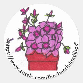 Pink Flowers The Cheerful Mailbox Round Sticker