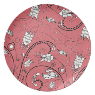 PInk Flowers Vines Party Plate