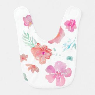 Pink Flowers Watercolor Baby Bib