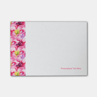 Pink Flowers Watercolor Pattern Post-it® Notes