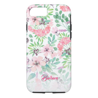 Pink Flowers Watercolors Pattern Monogram GR2 iPhone 8/7 Case