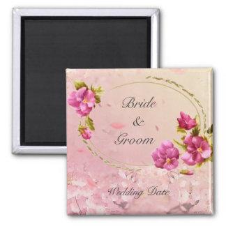 Pink Flowers Wedding Favor Magnet