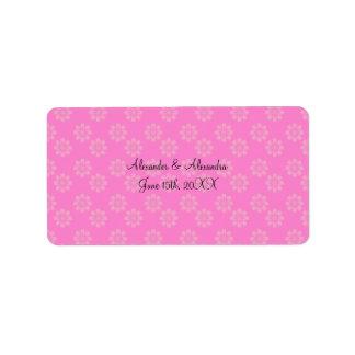 Pink flowers wedding favors address label