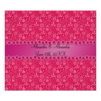 Pink flowers wedding favors poster