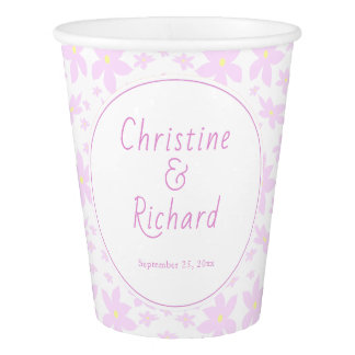 Pink Flowers Wedding Paper Cup