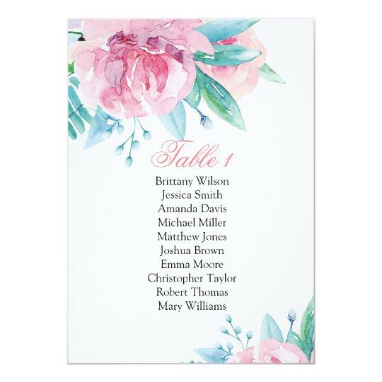 Pink flowers wedding seating chart. Botanical plan Card