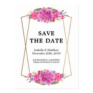 Pink Flowers White & Gold Geometric Save the Date Postcard