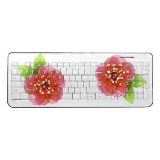 Pink Flowers Wireless Keyboard