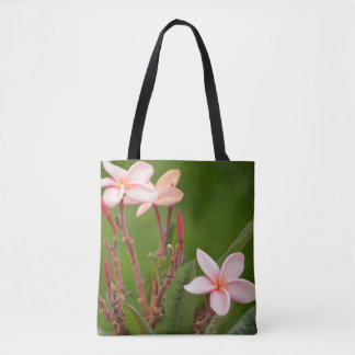 Pink Flowers with a green background Tote Bag