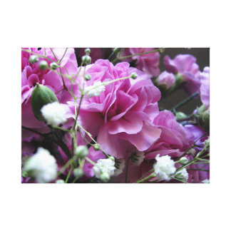 Pink Flowers with Babies Breath Canvas Print