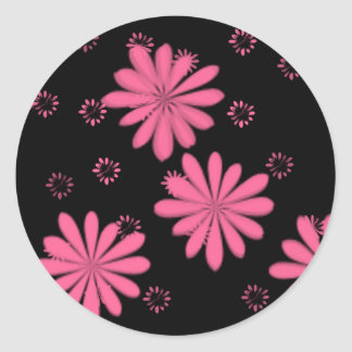Pink Flowers With Black Background Classic Round Sticker