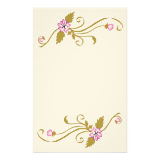 Pink Flowers with Gold Vine Stationery