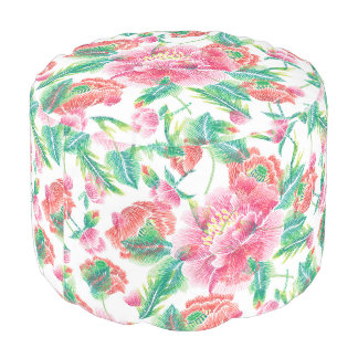 Pink Flowers With Green Leafs Pattern Pouf