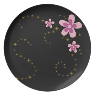 pink flowers with shining stars party plates