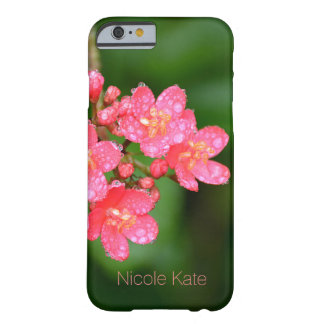 Pink flowers with water  drops Monogram Barely There iPhone 6 Case