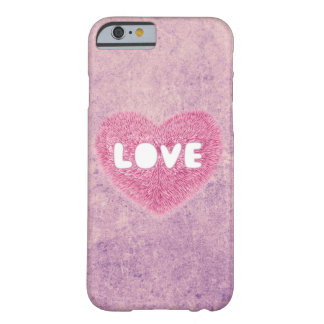 Pink fluffy Love Heart Barely There iPhone 6 Case