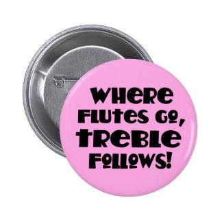 Pink Flute Treble Music Button