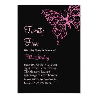 Pink Fluttering Butterflies Twenty First Birthday Announcements