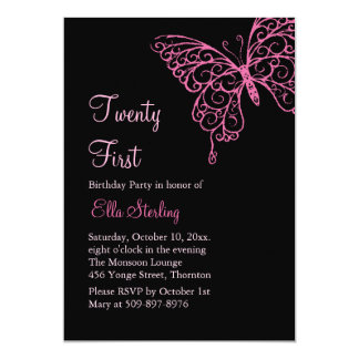 Pink Fluttering Butterflies Twenty First Birthday 5x7 Paper Invitation Card