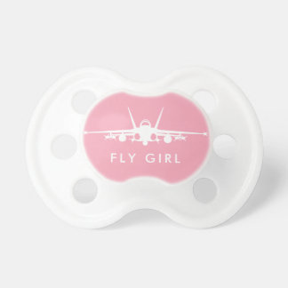 Pink Fly Girl FA-18C Hornet Silhouette Pacifier