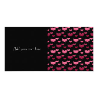 Pink Flying Hearts on Black Photo Cards