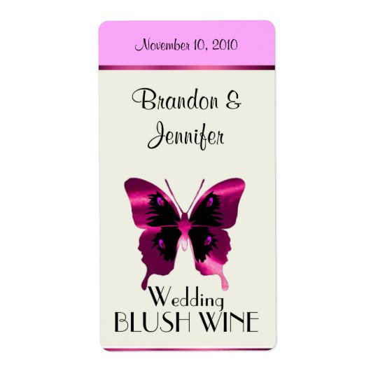Pink Foil Butterfly Wedding Mini Wine Labels
