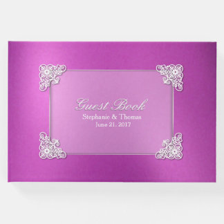 Pink Foil Look Wedding Guest Book