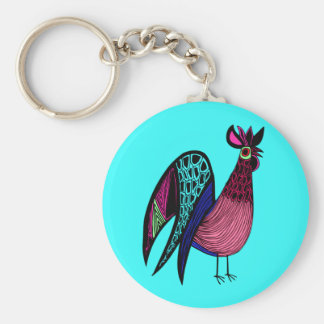 Pink Folk Art Rooster Basic Round Button Key Ring