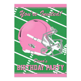 Pink Football Themed Party Invitation - Editable