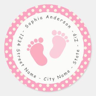 Pink Footprint Baby Shower Return Address Label