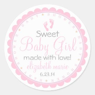 Pink Footprints- Baby Shower Favor Classic Round Sticker